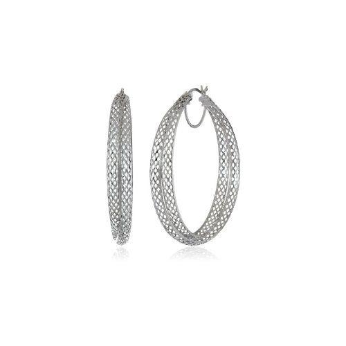 Sterling Silver Diamond Cut Mesh Click-Top Hoop Earrings - $74.62