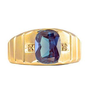 Antique cushion cut alexandrite diamond men39s gold ring for Mens wedding rings with birthstones