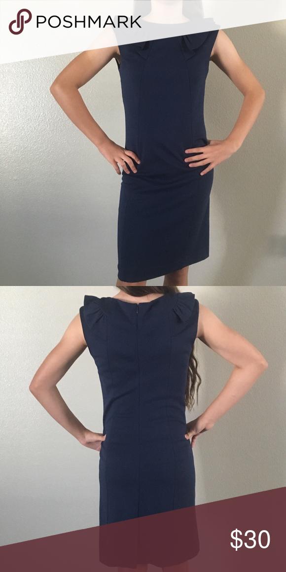 6491d1e8b264 Banana Republic Navy sheath dress I 😍 this dress. Navy sheath dress with  ruffle collar detail. Banana Republic Dresses Mini