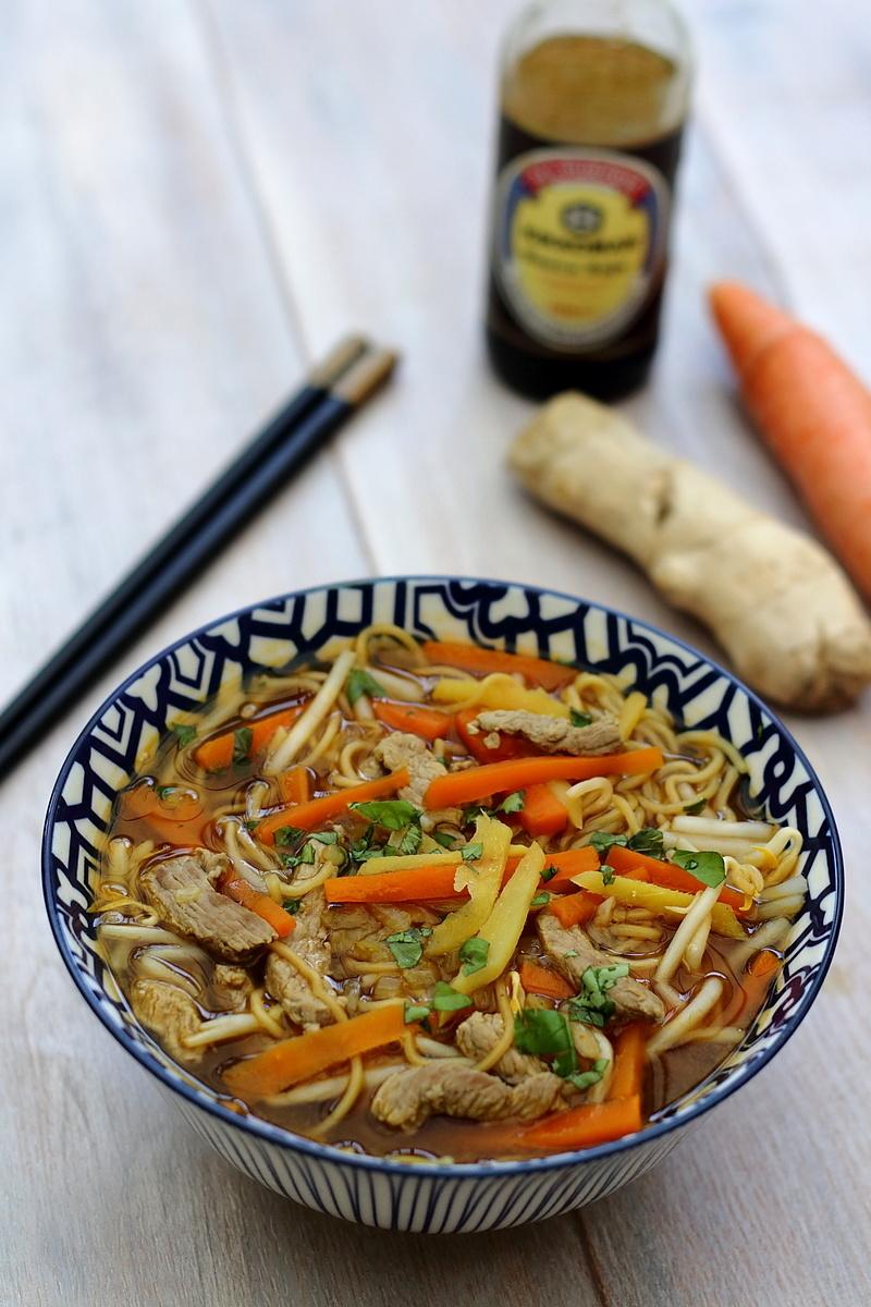 Soupe chinoise au veau, nouilles et légumes Amandine