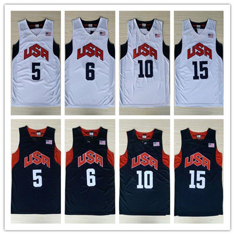USA Dream Team Basketball Jerseys #10 Kobe Bryant #6 Lebron James Vintage  Uniforms 2012