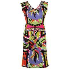EMILIO PUCCI 1960s 2pc Multicolor Signature Print Silk V-neck Top Skirt Dress
