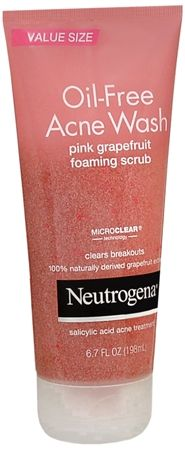 Neutrogena Oil-Free Acne Wash Pink Grapefruit Foaming. Works extremely great. Leaves Face feeling super Fresh.