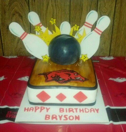 Arkansas Razorbacks Bowling themed birthday cake