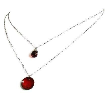 Necklace  Dual Layered Pendants  Garnet / by LaFemmeJewels on Etsy, $35.00
