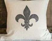 Fleur de leis pillow cover, shabby chic  pillow cover, decorative pillow cover, Paris pillow cover
