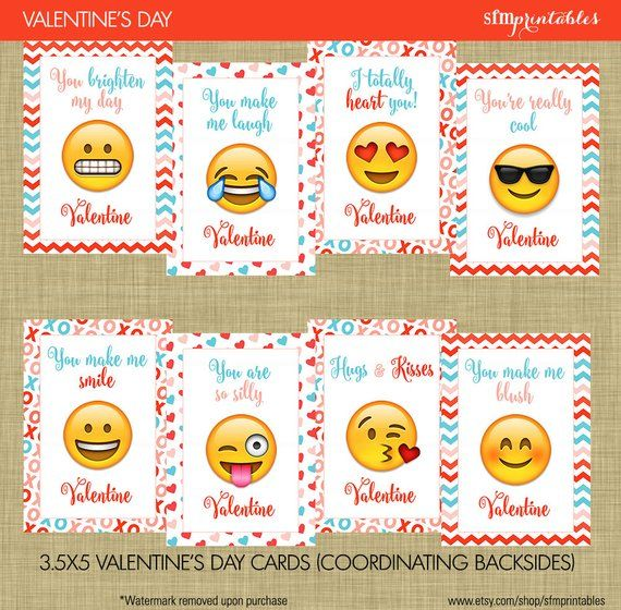 photograph relating to Printable Valentines Day Cards for Kids called Prompt Obtain! Emoji Valentines Working day Playing cards - Young children Higher education