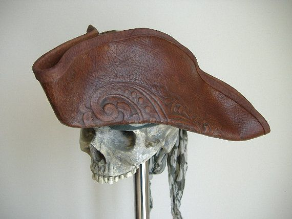 Real Leather Pirate Tricorn Hat  8017576b5e0f