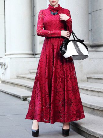 Red Polyester A-line Casual Floral Maxi Dress
