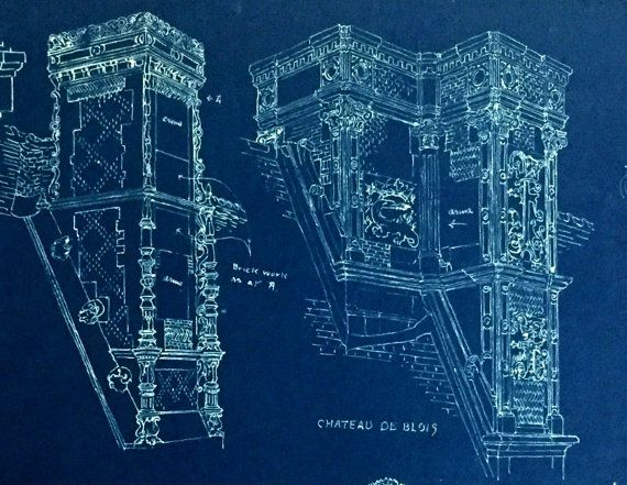 Vintage architectural blueprint french renaissance chimneys vintage architectural blueprint french renaissance chimneys malvernweather Images