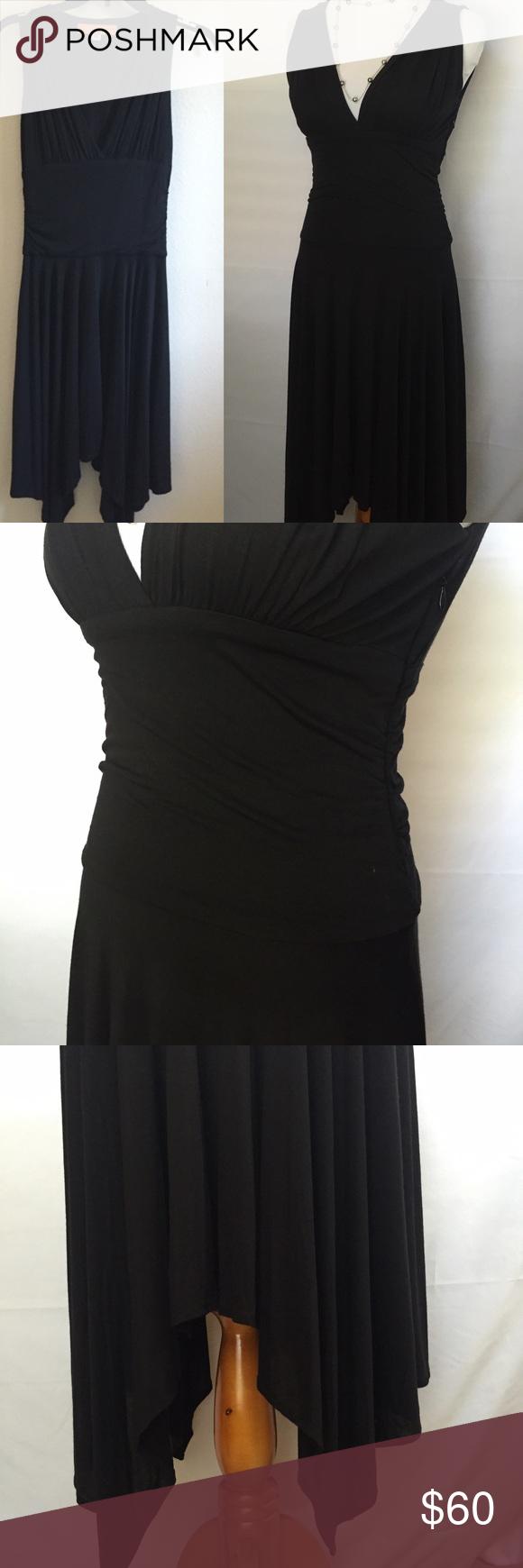 Cynthia steffe black dress asymmetrical v neck size zip closure