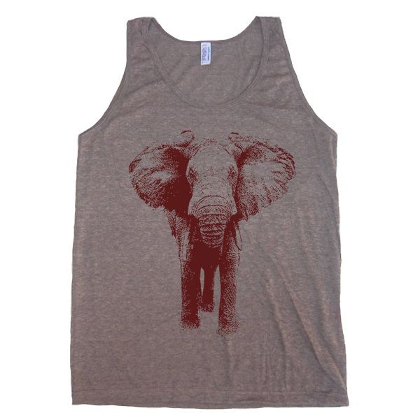 Mens Unisex ELEPHANT Tri-Blend Tank - American Apparel tanktop - XS S M L XL (7 Color Options) on Etsy, $19.00