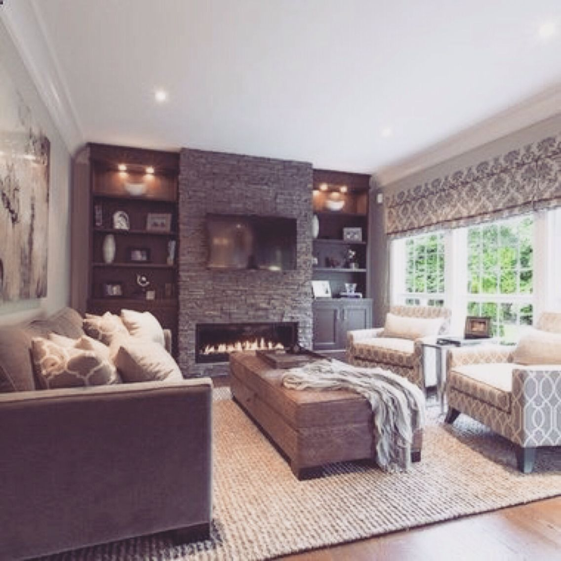 Family Rooms We Love: Would Love Our Tv On Our Stone Fireplace Wall. That Would