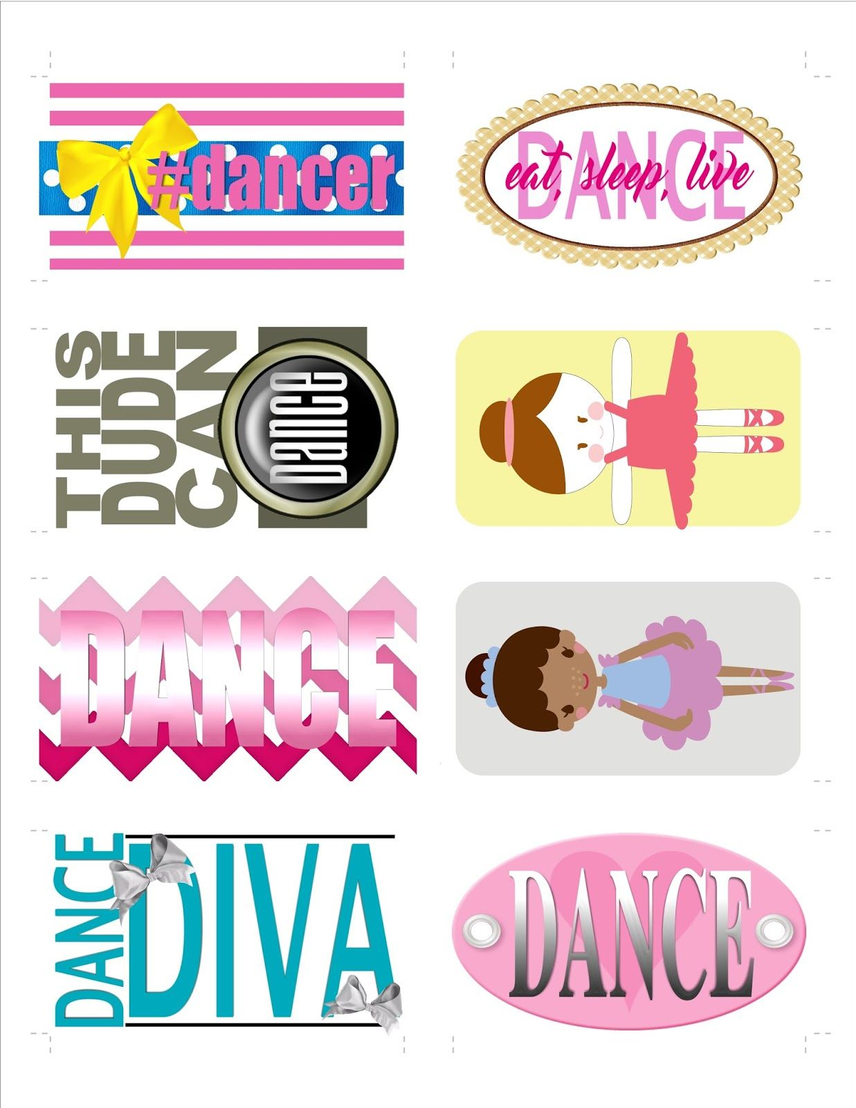 Dance recital gift or favor dance themed bag tags free printable from the lily of the valley craft room
