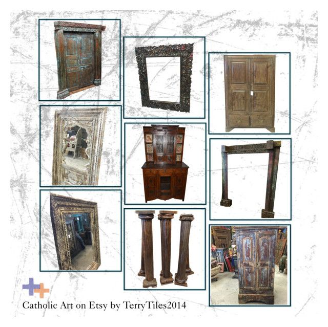 """""""Antique Handcarved Furniture Collection"""" by era-chandok ❤ liked on Polyvore featuring interior, interiors, interior design, home, home decor, interior decorating, WALL, door, armoire and doorpanel"""