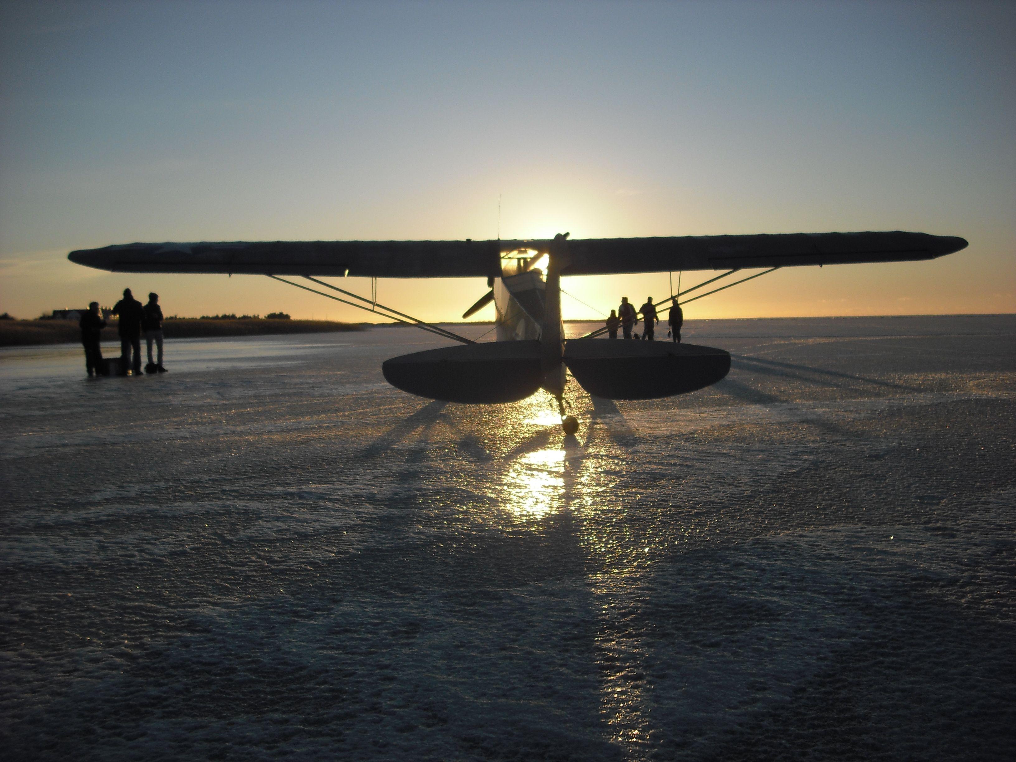 Piper L4 44-80295 OY-ALF on ice..