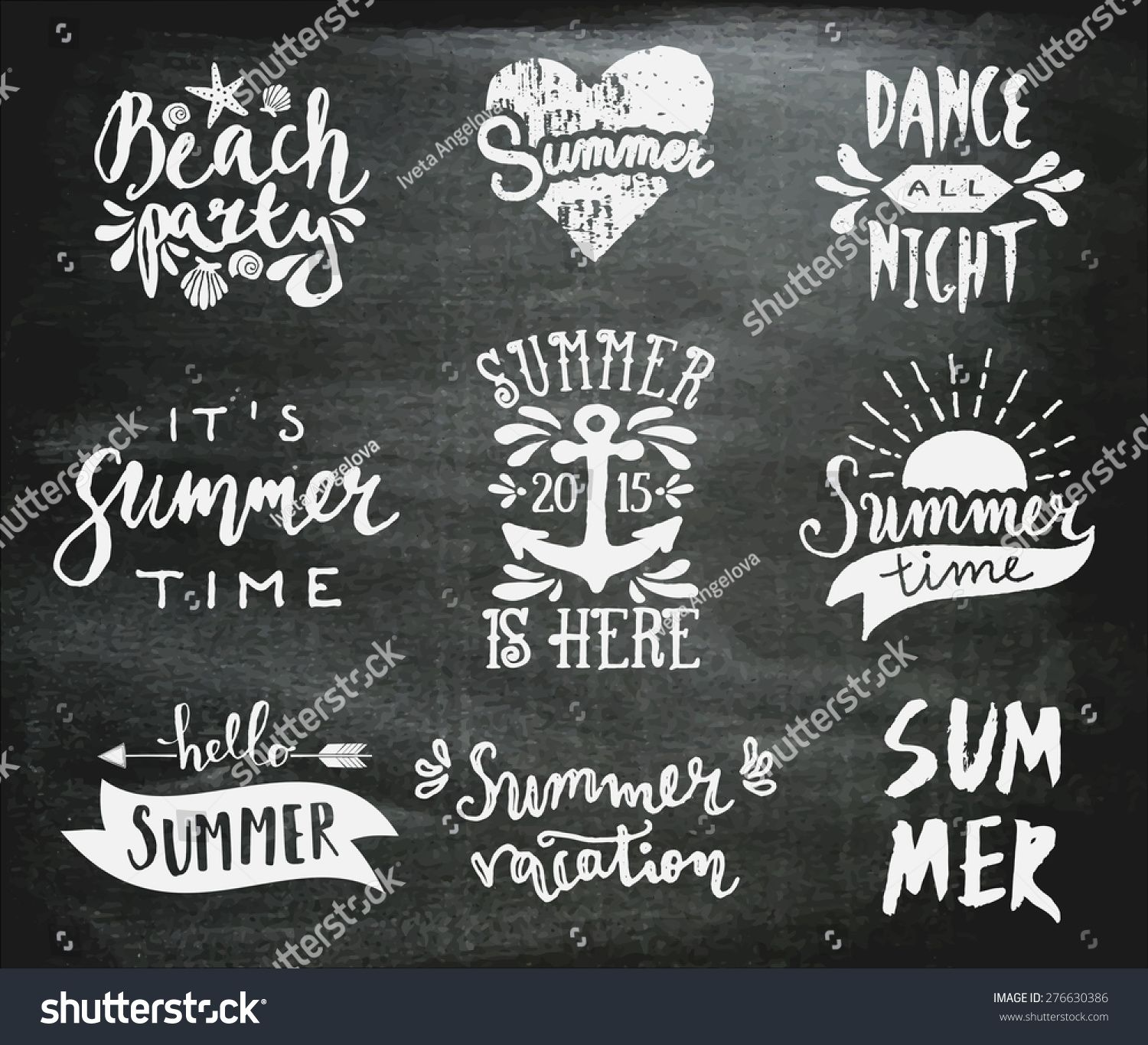 a set of chalkboard style typographic summer designs hand drawn