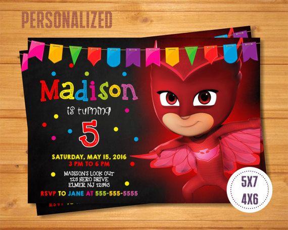 Owlette Invitation PJ Masks Birthday Party Printables Supplies Pjmasks Birthdayparty