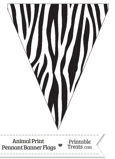 Zebra Print Pennant Banner Flag Zebra Birthday Party Animal