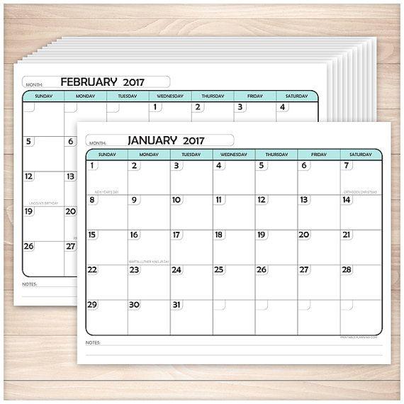 Printable 2017 Calendar PDF - Teal Modern rounded design - 12 - printable 2017 calendar