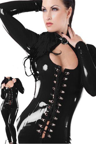 7cdebb2d6c623 Amazon.com  Sexy Sleekly Styled Catsuit with Front Lace Opening Corset -  Black - Small Medium  Clothing