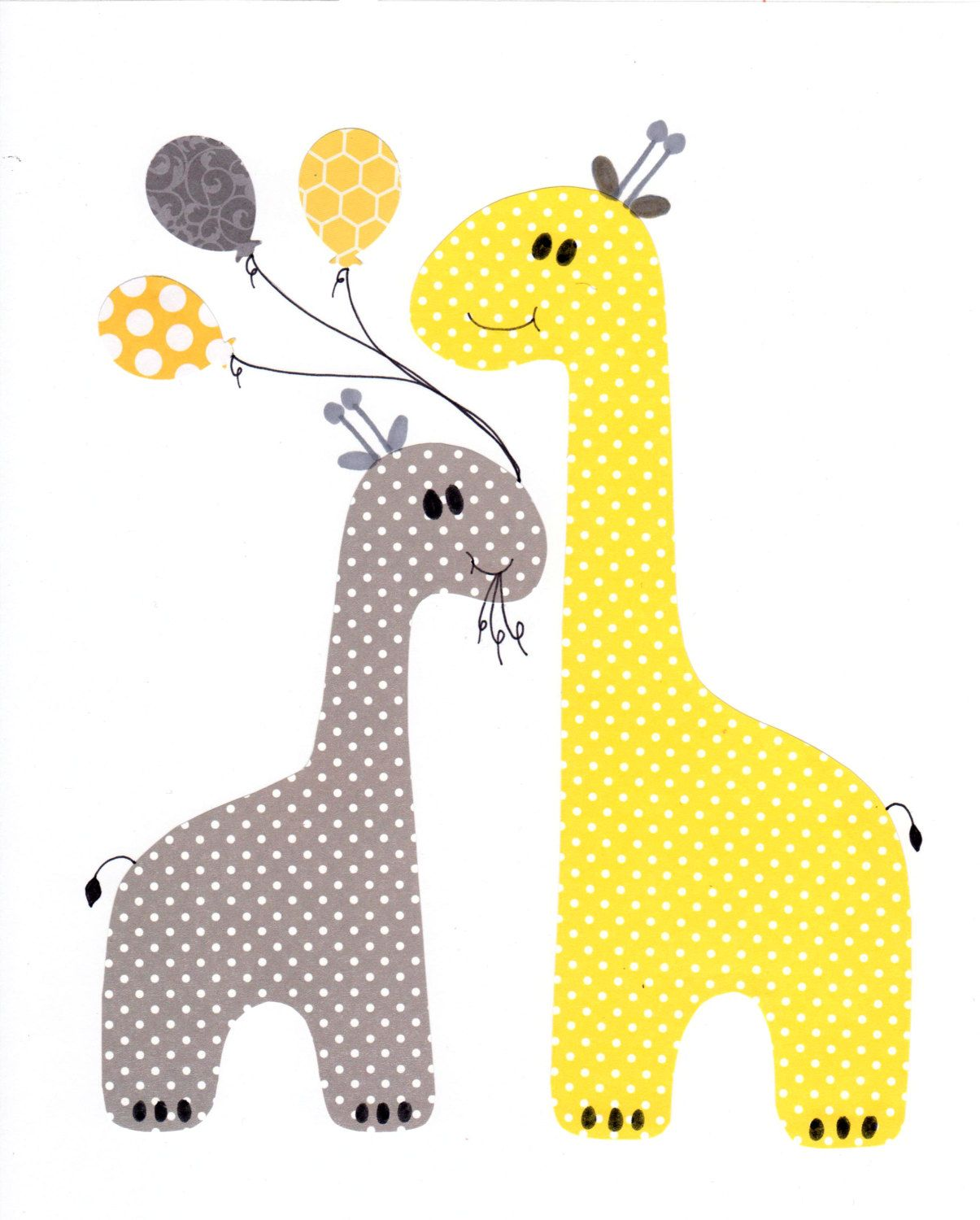 Yellow and Grey Nursery Artwork Yellow Gray Nursery Art Baby Nursery ...