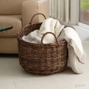 Couch Side Blanket Storage I Have Way Too Many Small Blankets For The Living Room Blanket Storage Small Storage Basket Textured Blankets