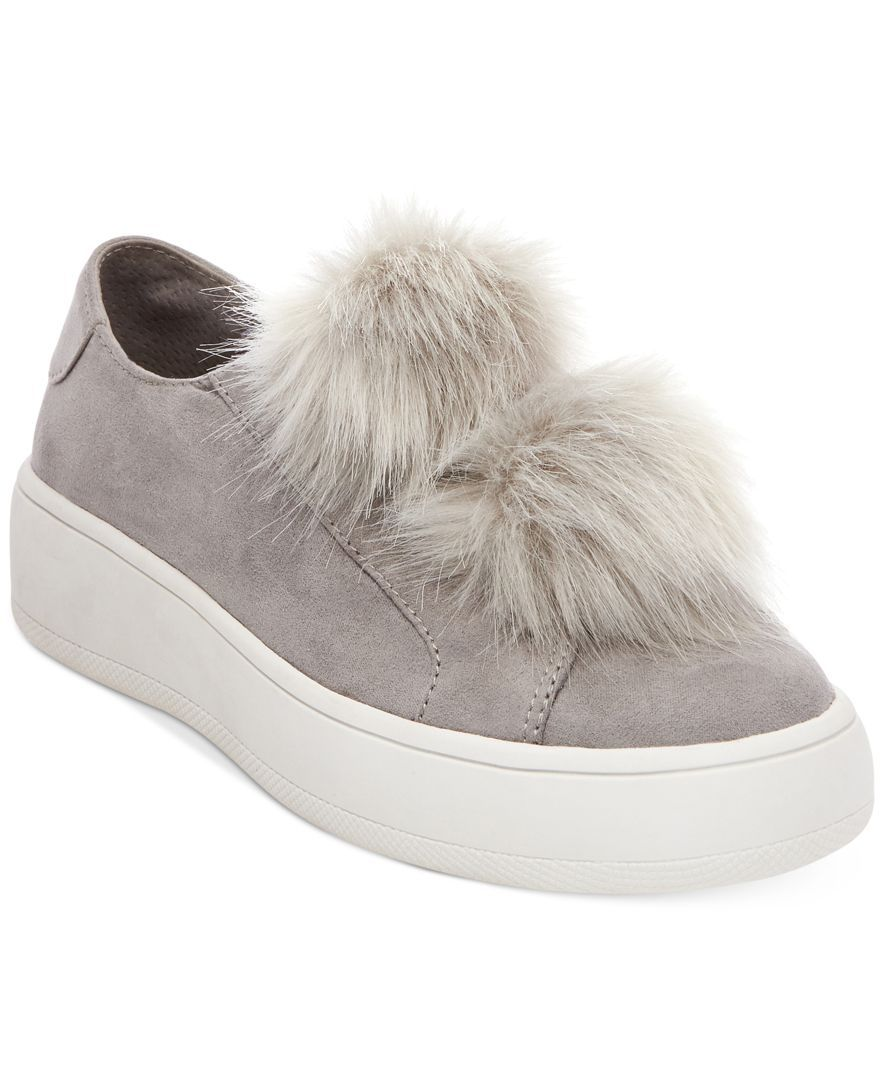 Steve Madden Bryanne Faux Fur Sneaker Grey Multi Womensteve madden sandals with pom poms100% quality guarantee