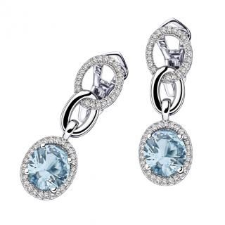 "Vraiment Toi Earrings  ""Vraiment Toi"" earrings, 18Kt white gold, Aqua Marine (8 mm / 2,5 ct), diamond pavé"