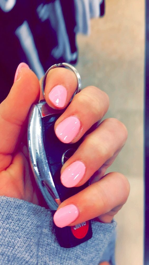 40 Round Natrual Acrylic Nail Design #39 | Round nails, Rounded ...