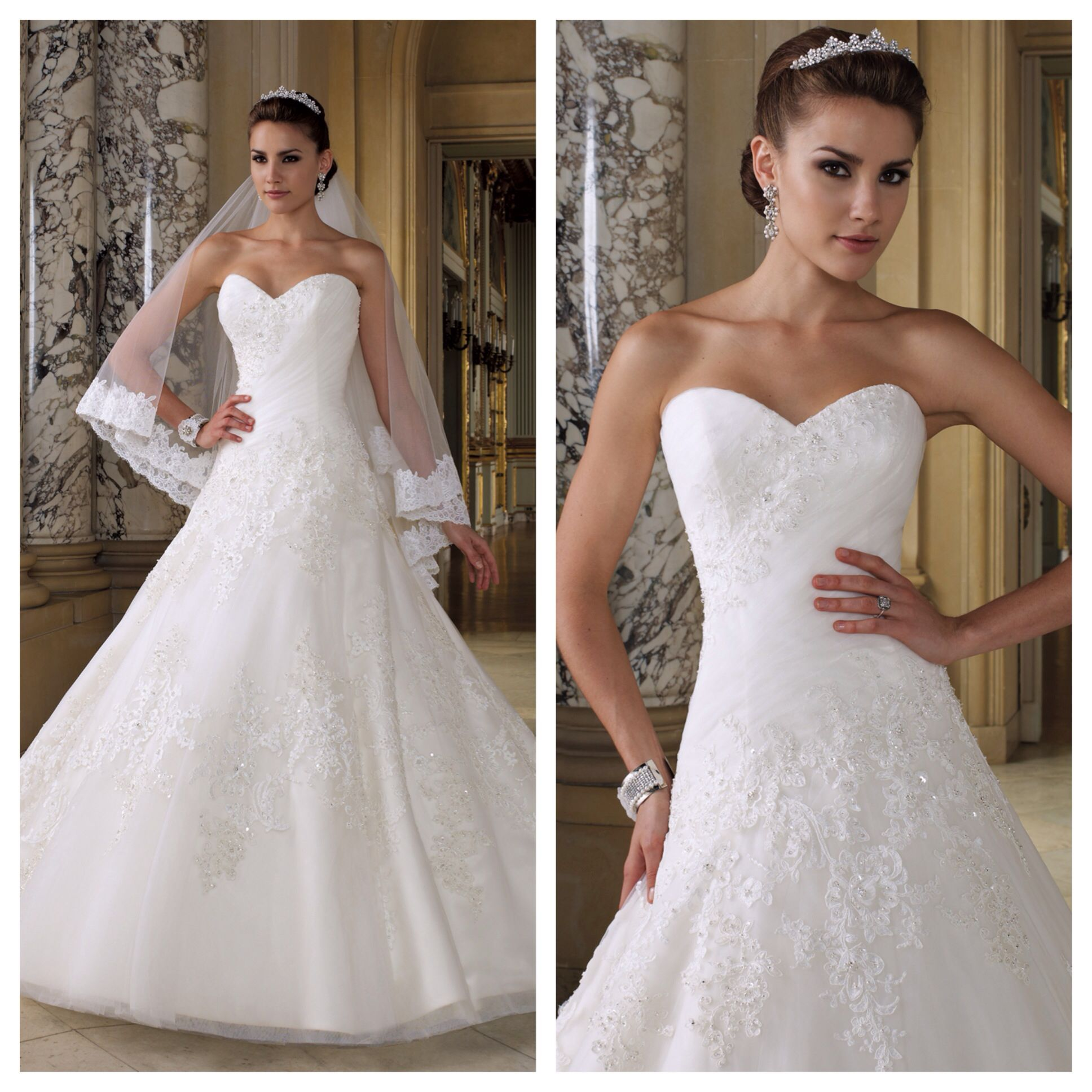 Strapless Lace And Tulle A-line Gown With Sweetheart