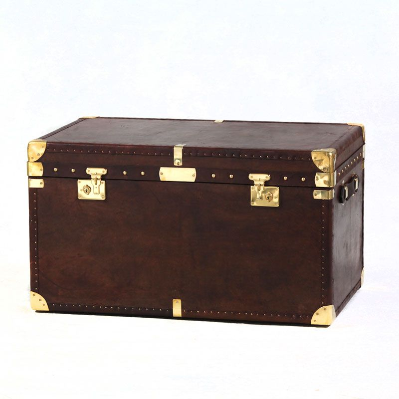 Brown Leather Storage Trunk Large Chests Amp Trunks