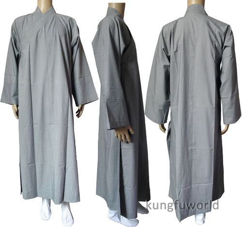 1fbe4209ad 100 Cotton Shaolin Monk Long Gown Chinese Kung Fu Robe Buddhist Clothes  Gray
