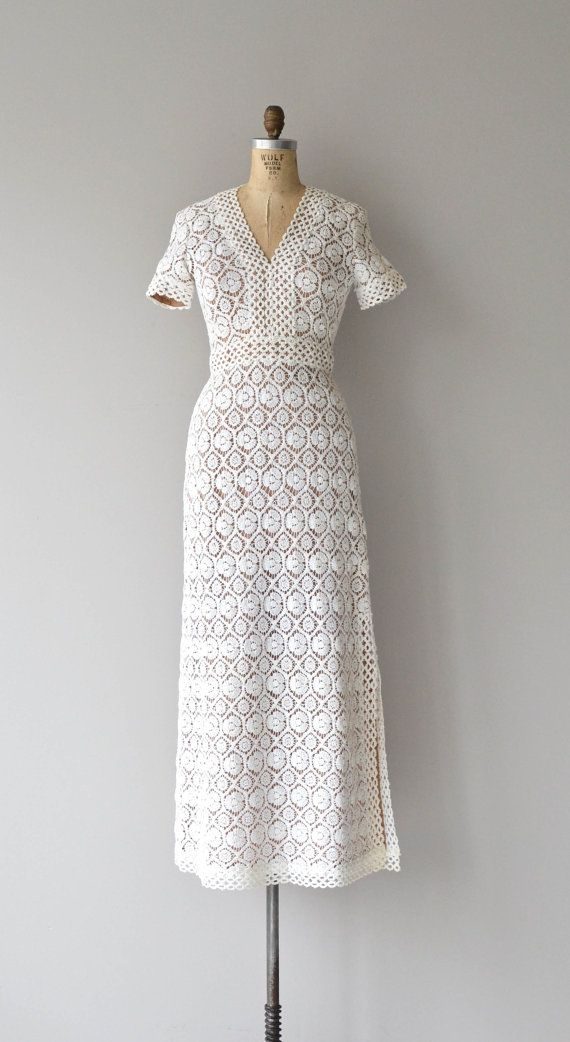 Love Story dress | 1960s wedding dress • vintage cotton crochet ...