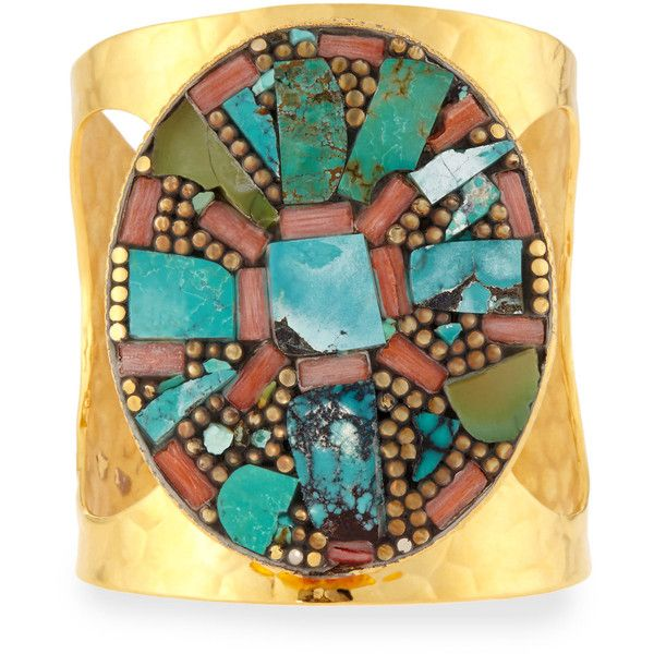 Devon Leigh Turquoise Medallion Cuff Bracelet (€560) ❤ liked on Polyvore featuring jewelry, bracelets, turquoise, red turquoise jewelry, turquoise cuff bracelet, turquoise jewelry, cuff jewelry and red jewelry