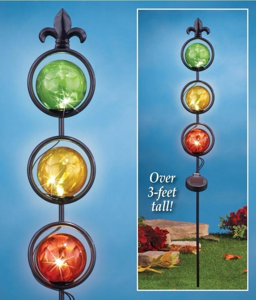 Colorful Glass Ball Solar Powered Light At Night Metal Garden Stake Yard  Decor