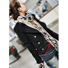 Fashionable & Pretty Pure Color Double-breasted Short Coat----Black