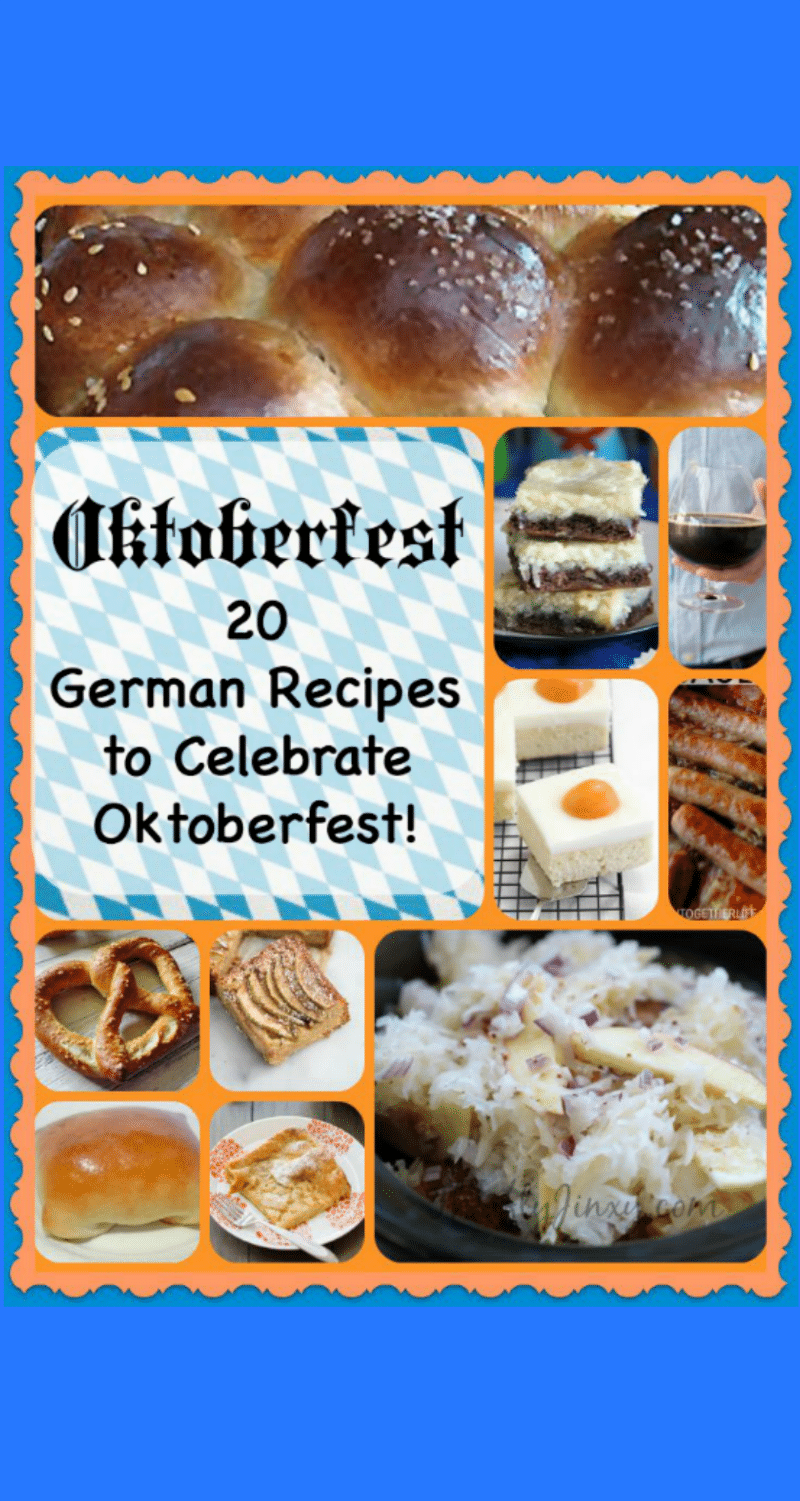 These 20 Oktoberfest Recipes offer both sweet and savory favorites. The German recipes will help you celebrate Autumn with a family dinner or blow-out bash! #octoberfestfood