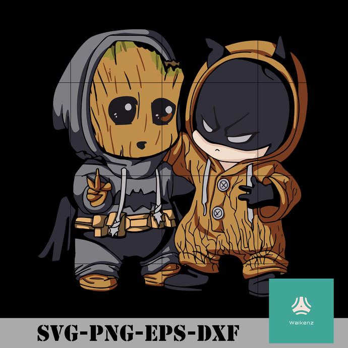 Chibi Batman and baby Groot svg, Halloween svg, pn