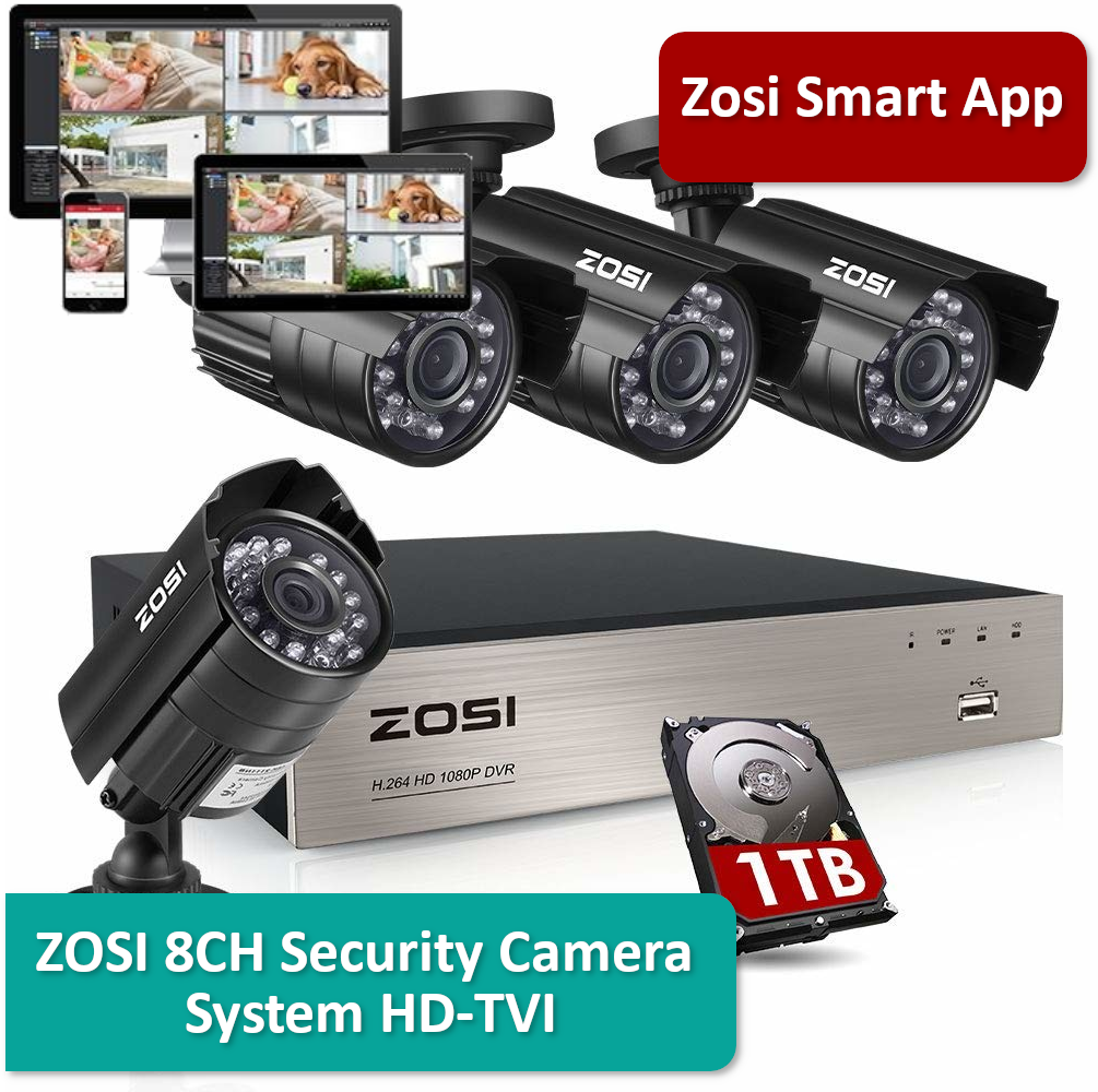 Zosi 8ch Security Camera System Hd Security Cameras For Home Home Security Camera Systems Security Camera System