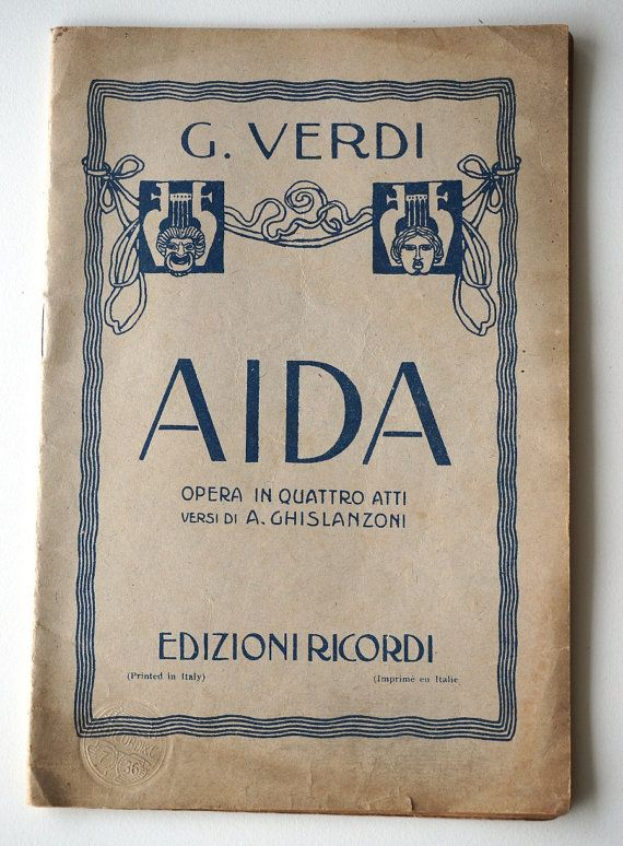 aida vocal score paper italian ricordi opera vocal score