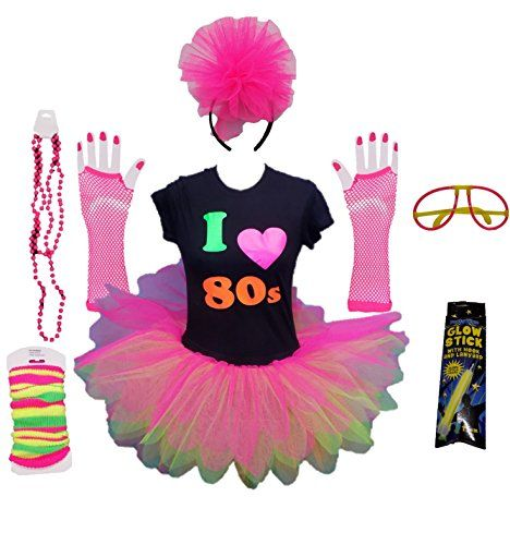 NEON FISHNET GLOVES NEON BEADS 1980/'S PUNK FANCY DRESS COSTUME ACCESSORY SET