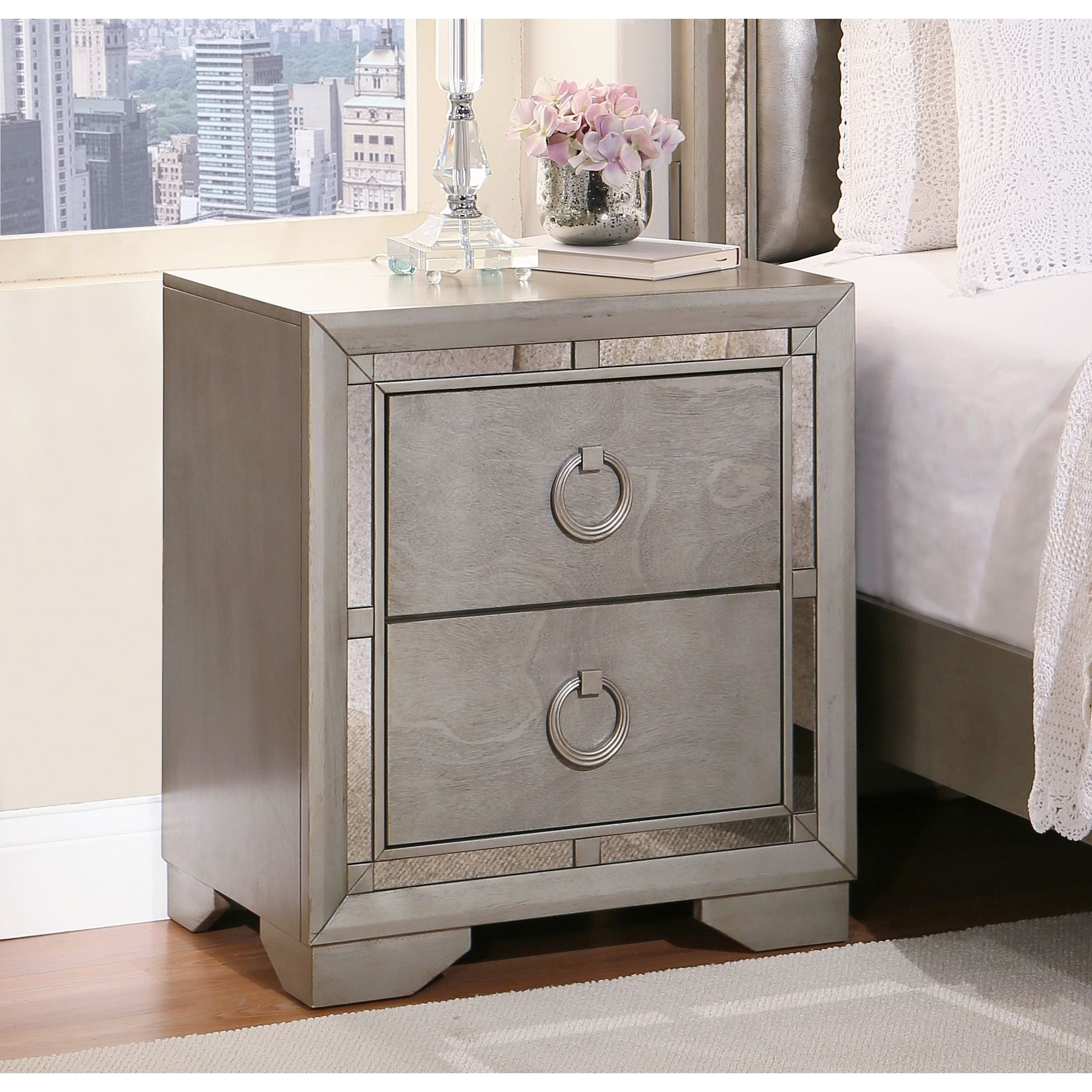 Abbyson Valentino Mirrored 2 Drawer Nightstand Antique Silver