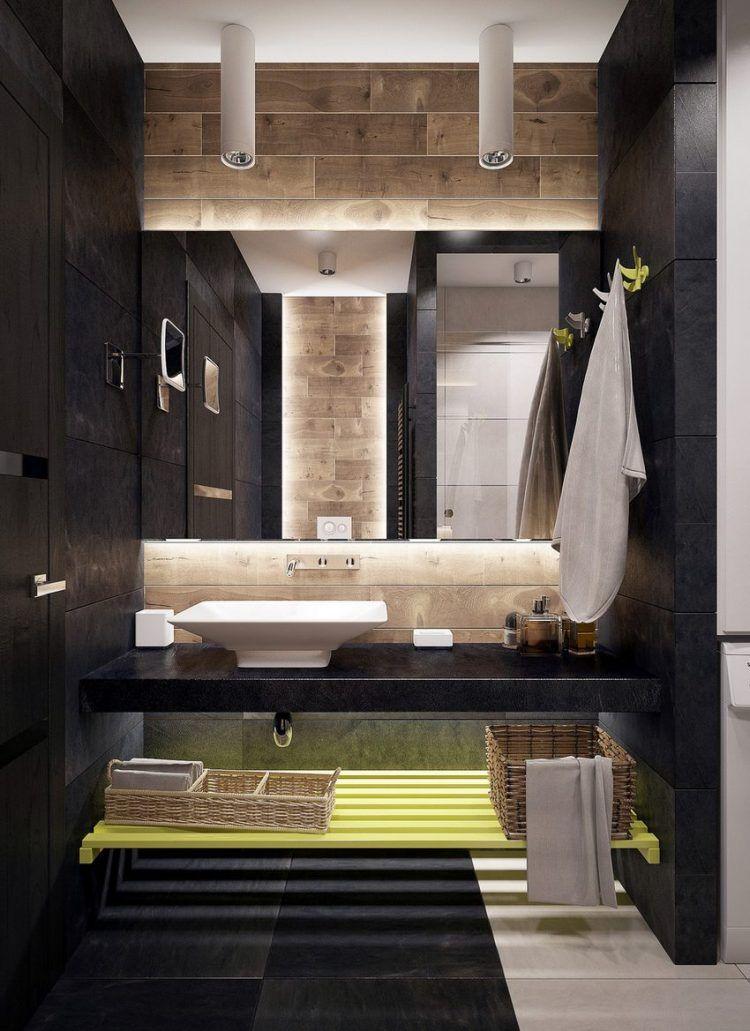 Kis fürdőszoba, elegáns, látványos berendezés - sötét, világos és ...
