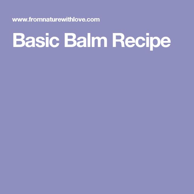 Recipes, Salve Balm