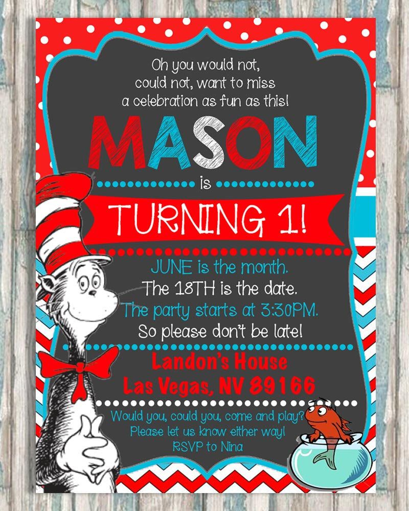Dr. Suess Birthday Invitation - Cat in The Hat - Any Age - First ...