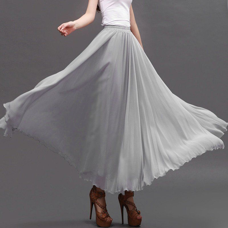 light gray chiffon maxi skirt with wide hem