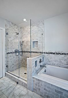Half Glass Shower With Coloured Tiles