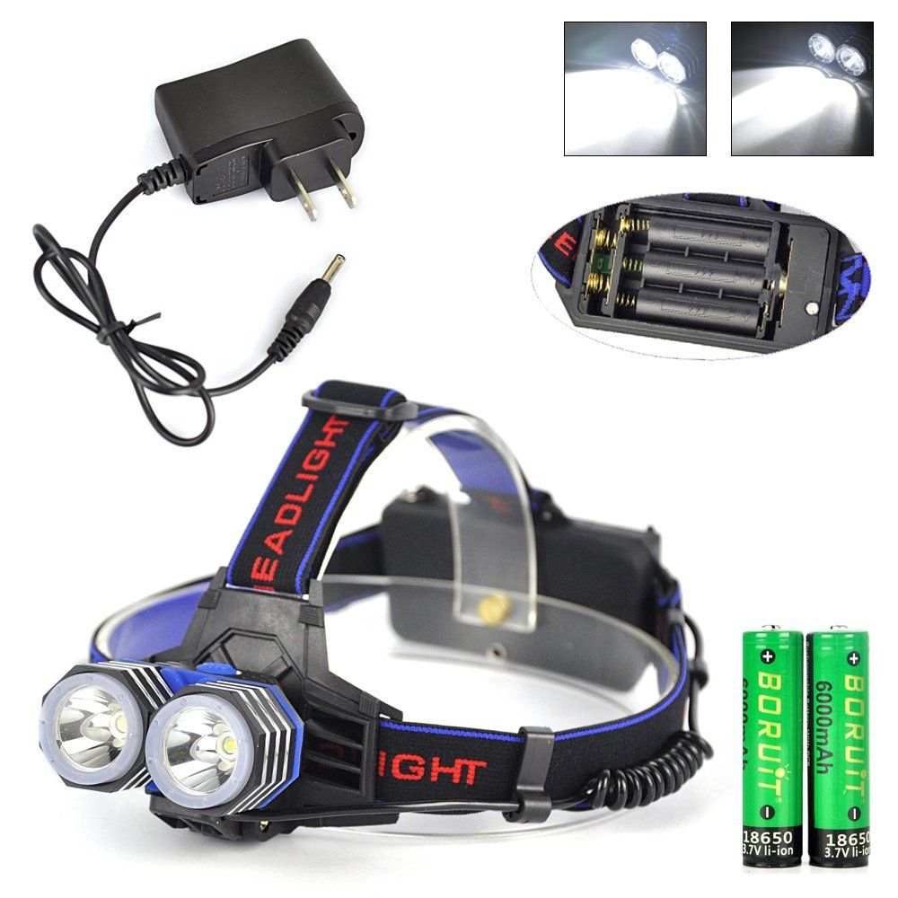 AA Battery Headlamp - 18650 Rechargeable Headlamps-1600 Lumens Bright Headlamp - 4 Modes ,2 XML T6 LEDs,Durable,Waterproof and  Power Bank Function for Camping Biking Hunting Fishing Walking *** Remarkable product available now. : Camping stuff