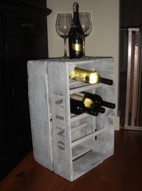 Wijnrek van veilingkist door piekie7 meubels pinterest doors wijn en wijnrekken - Decoratie voor wijnkelder ...